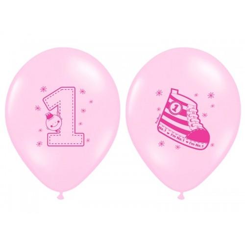 6 Palloncini Primo Compleanno Bambina