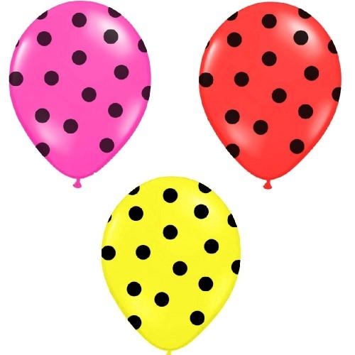 6 Palloncini Colorati Pois Neri