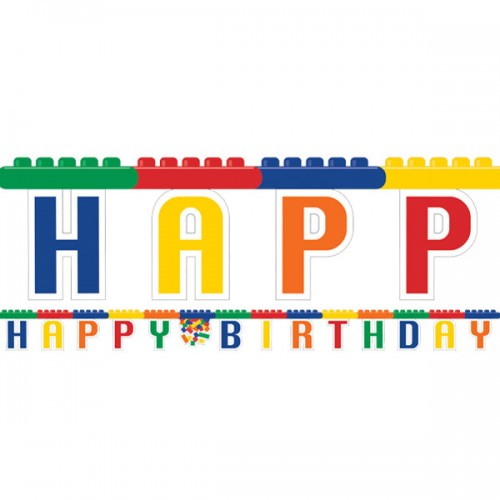 Festone Festa Blocchi Lego Happy Birthday 2,13m