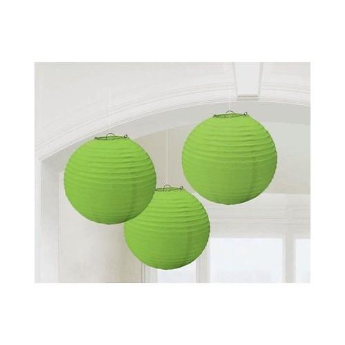 3 Lanterne di Carta Verdi 24cm