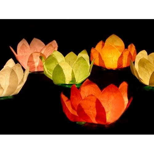 6 Lanterne Galleggianti Fiore di Loto