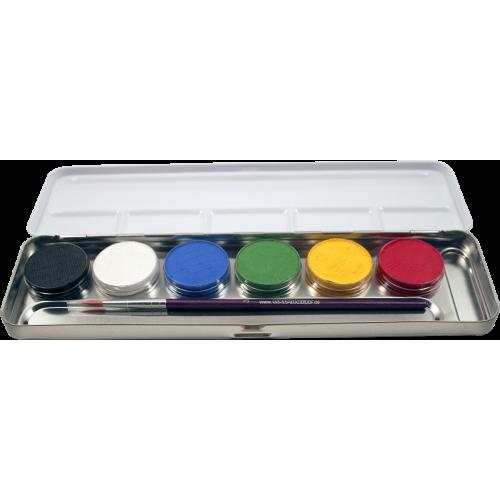 Paletta in Metallo Trucchi 6 Colori con Pennello