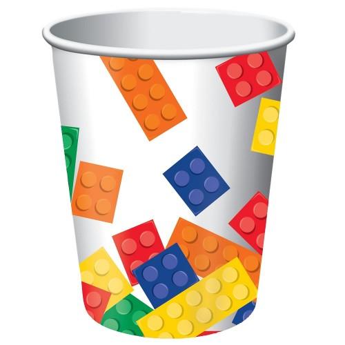 8 Bicchieri Festa Blocchi Lego