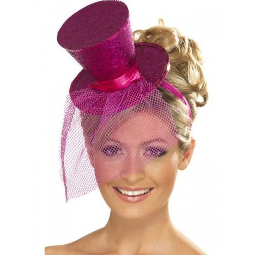 Cappello Fuxia con cerchietto e velo festa