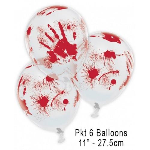 6 Palloncini Halloween mano insanguinata