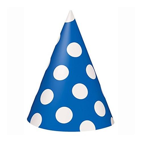 8 Cappellini Cono Blu con Pois