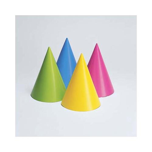 8 Cappellini festa cono colorati