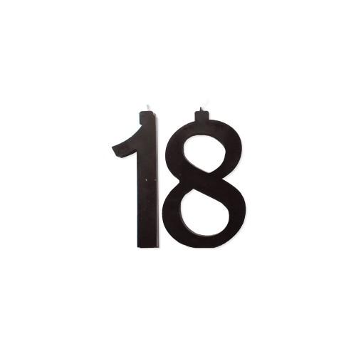 Grandi Candeline torta numero 18 nera 11cm