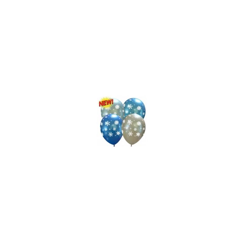 6 Palloncini Fiocchi di Neve Perlati