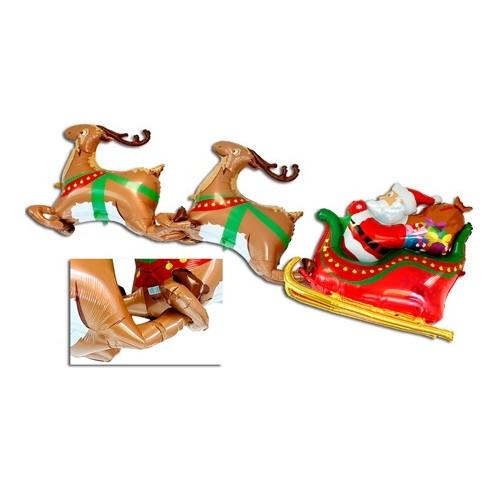 Maxi Palloncini 3D Renne e Slitta di Babbo Natale 2 Metri