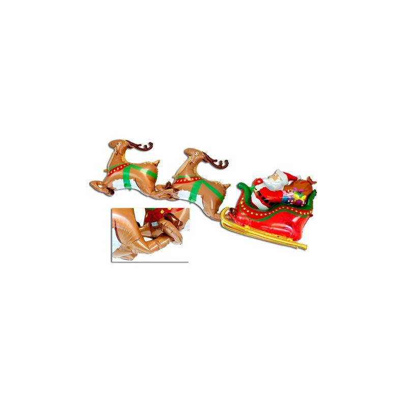 Renne Babbo Natale.Mega Palloncini 3d Natale Con Renne E Slitta Con Babbo Natale