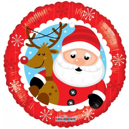 Palloncino Tondo Babbo Natale con Renna 45cm