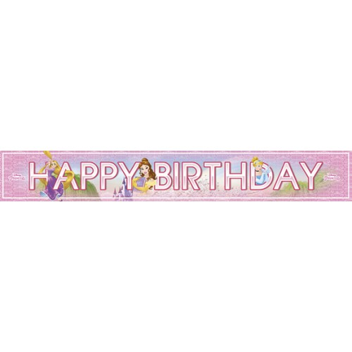3 Banner Festoni Principesse Happy Birthday