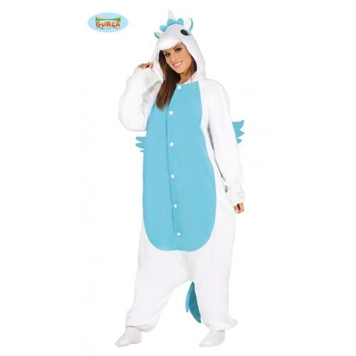Costume Pigiama Unicorno Azzurro Adulto