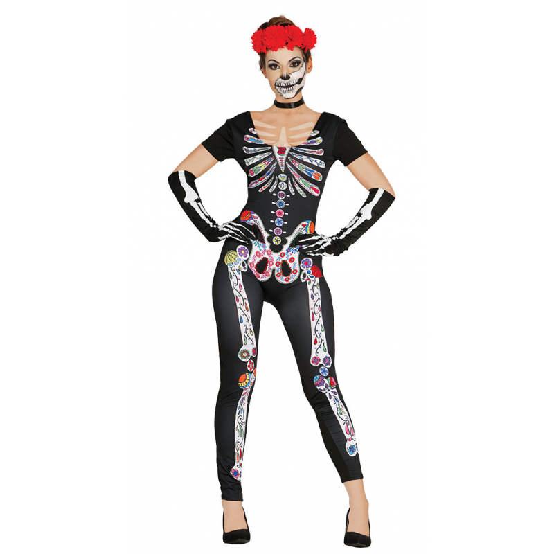 Costume-Tuta Scheletro Messicano donna