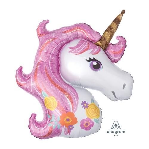 Palloncino Testa Unicorno tonalità rosa-fucsia