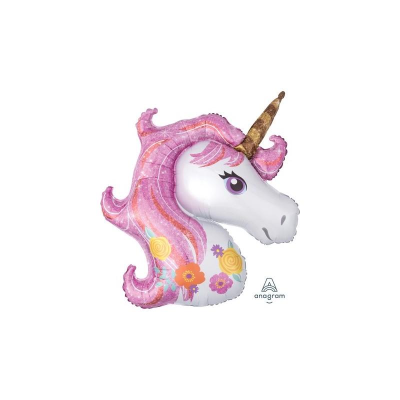 Palloncino Testa Unicorno tonalità fucsia-rosa
