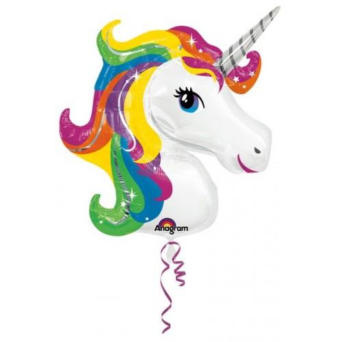 Palloncino Testa Unicorno tonalità arcobelano
