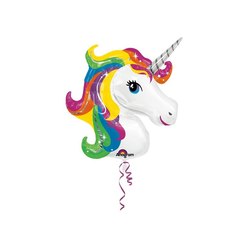 Palloncino Testa Unicorno tonalità arcobaleno
