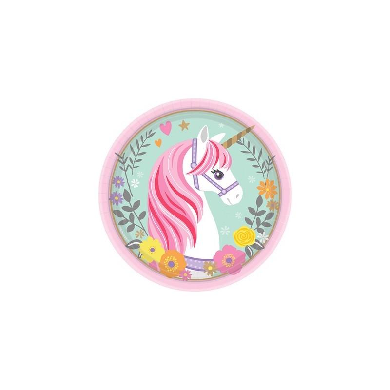 8 piattini carta festa unicorno