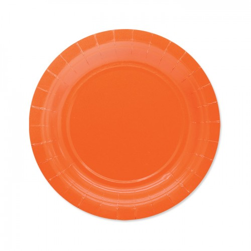 25 Piattini Di Carta Arancioni 18cm