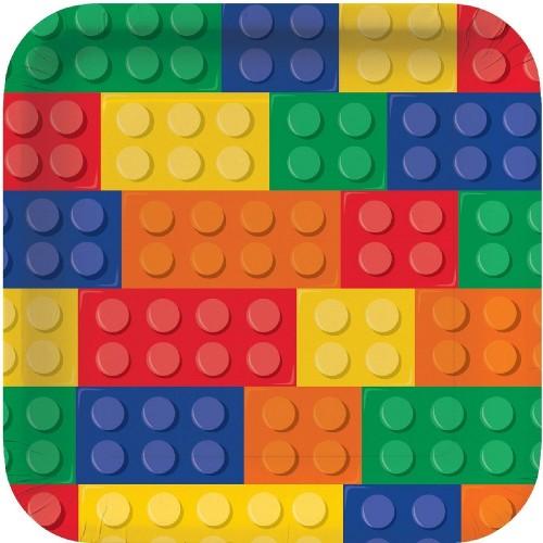 8 Piatti Festa Blocchi Lego